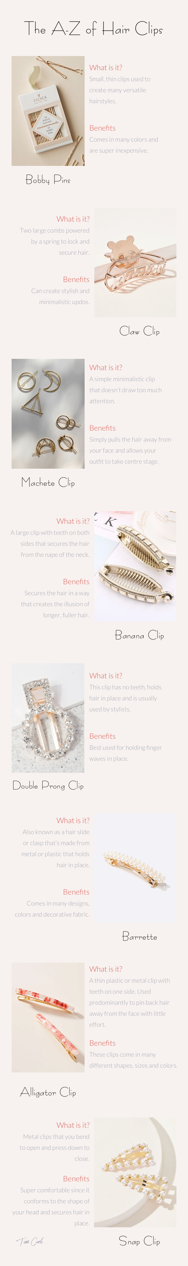 Tim Carli Blog   Oh Snap! How to Wear Hair Clips   Hair Blog   Hair Clip Infographic   Hair clips trends   Trending hair clips   most popular hair clips   what is a snap clip   barettes